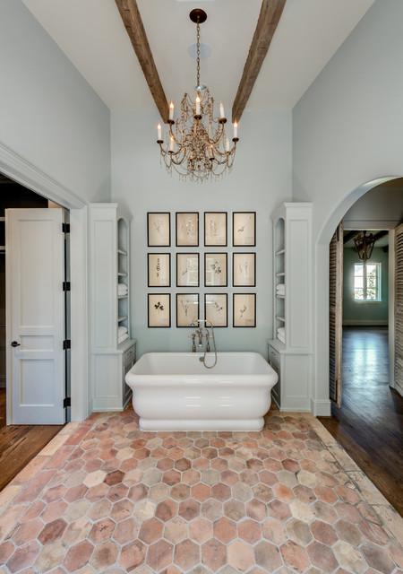 French Farmhouse Mediterranean Bathroom Houston By