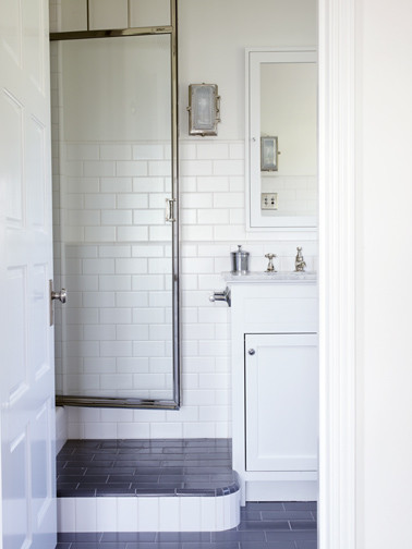 French Normandy Castle transitional-bathroom
