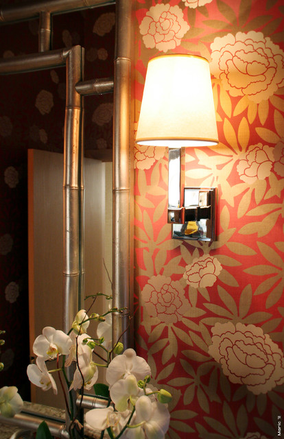 Fretwork Powder Room asian bathroom