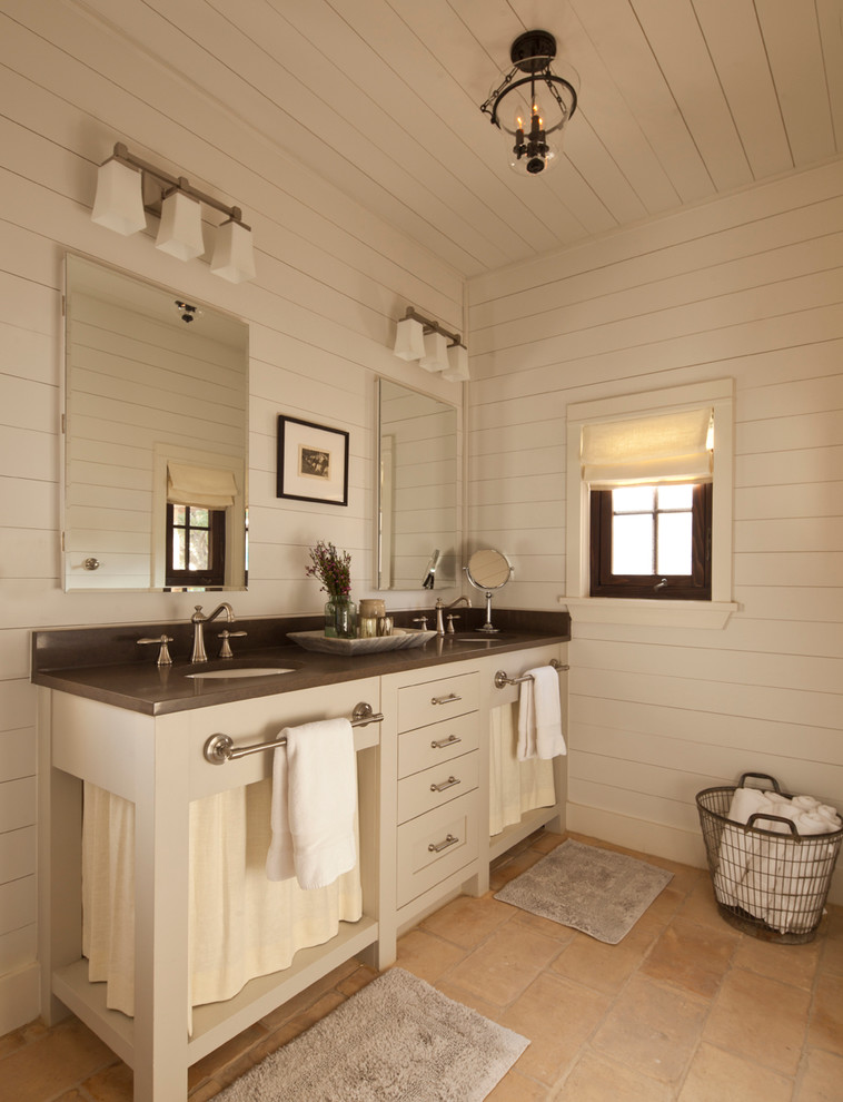 Farmhouse bathroom photo in Austin with open cabinets, gray cabinets and white walls