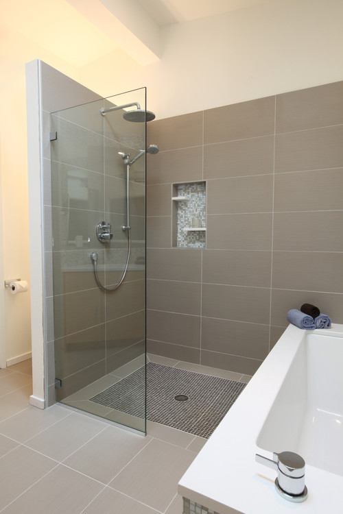 How much room is needed to accommodate a walk in shower for Mid century modern master bathroom