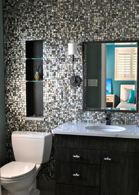 from walk in closet to beautiful bath contemporary-bathroom