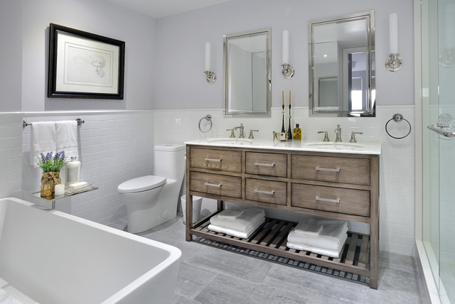 Freestanding bathtub - small transitional 3/4 white tile and ceramic tile marble floor freestanding bathtub idea in Toronto with furniture-like cabinets, medium tone wood cabinets, a one-piece toilet, gray walls, an undermount sink, quartzite countertops and white countertops