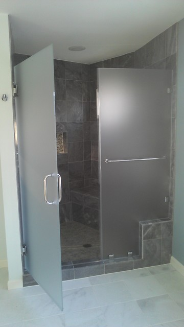 Frosted Frameless Glass Shower Door With Slate Gray Tile