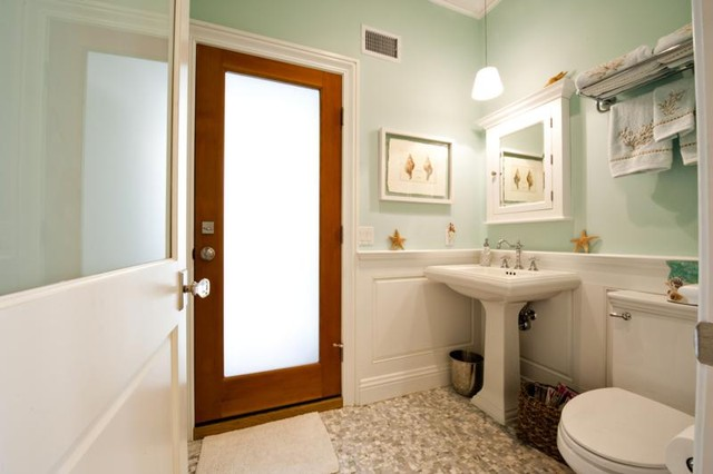Frosted Glass Door Traditional Bathroom New York