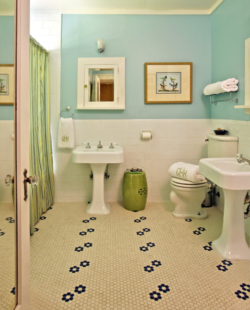 Traditional Interior Designers In Chicago: Bathroom Color For Old Blue Hexagon Floor And White