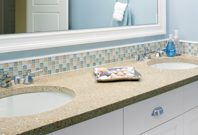 Fuezstone beach vanity modern bathroom boston - Recycled glass tiles bathroom ...
