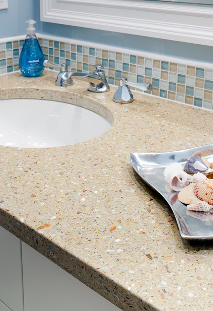 bathroom vanity in fuezstone beach recycled glass stone chips