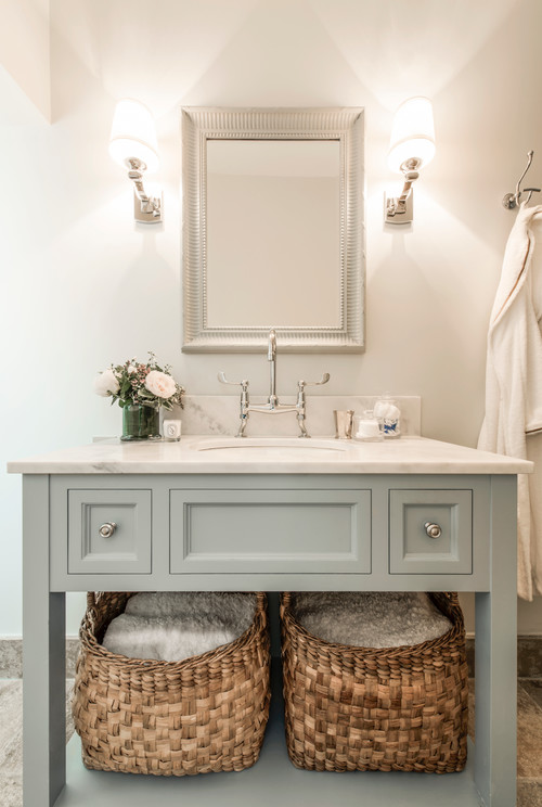 use baskets for extra storage in the bathroom