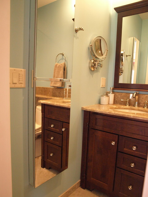 Semi recessed medicine cabinets create full height mirror for Height of bathroom mirror