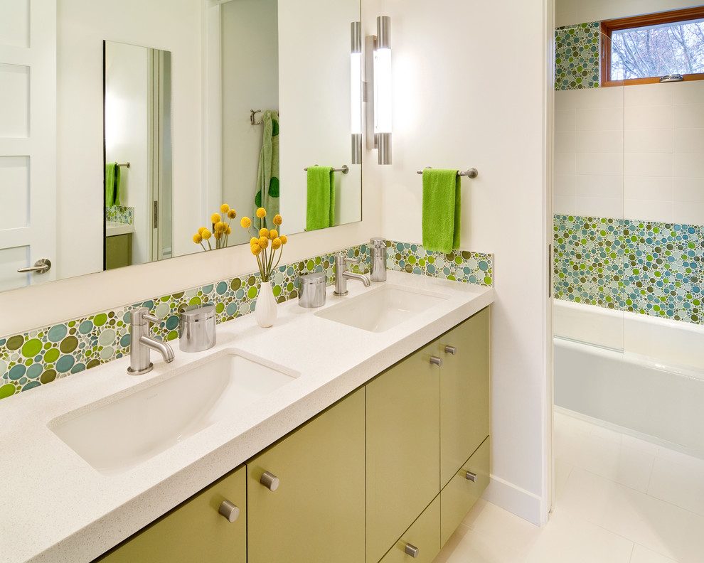 Example of a trendy kids' multicolored tile and mosaic tile bathroom design in San Francisco with an undermount sink, flat-panel cabinets and green cabinets