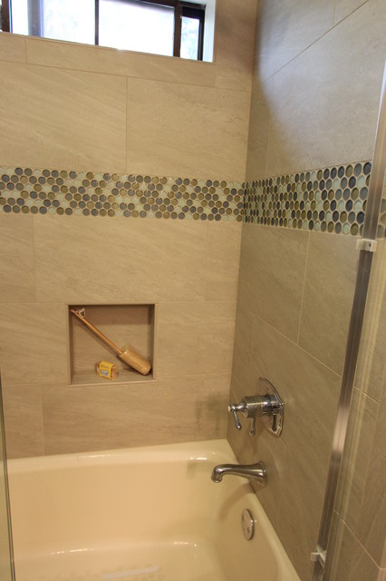 Example of a small coastal kids' green tile and porcelain tile porcelain floor bathroom design in San Francisco with an undermount sink, recessed-panel cabinets, white cabinets, engineered quartz countertops, a two-piece toilet and blue walls