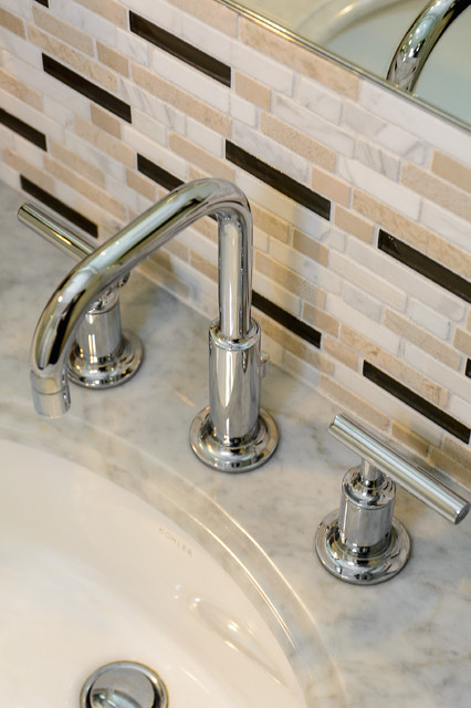 Functional Three Piece Chrome Faucet Transitional Bathroom Los Angeles