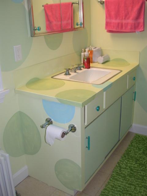Funky colorful bathroom for Funky bathroom vanities