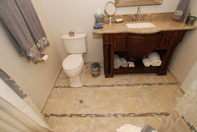 Furniture Vanity & Rectangle Sink & Glass Tile Inlay Border Rows - Transitional - Bathroom ...