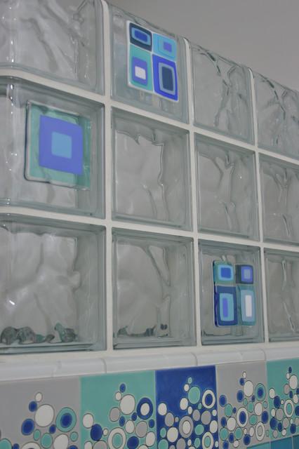 Bathroom Remodel Fresno fused glass tile block wall in a bathroom remodel in fresno