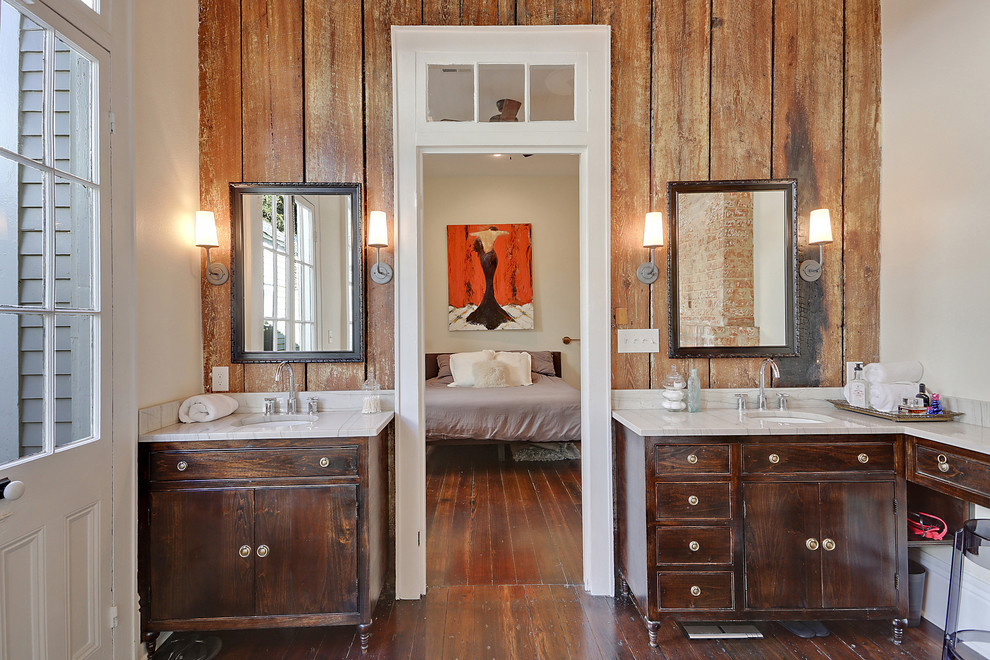 Transitional dark wood floor bathroom photo in New Orleans with an undermount sink, furniture-like cabinets, dark wood cabinets and white walls