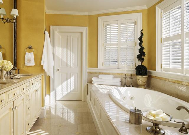 victorian drop in bathtub idea in boston with yellow walls - Bathroom Ideas Yellow