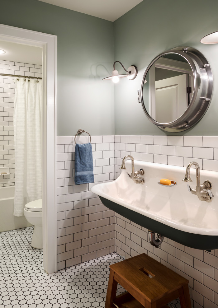 Inspiration for a mid-sized cottage kids' white tile and ceramic tile mosaic tile floor bathroom remodel in Milwaukee with a trough sink and green walls