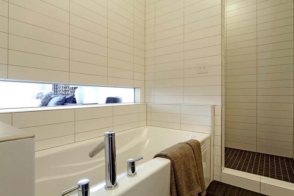 Bathroom - contemporary white tile bathroom idea in Seattle