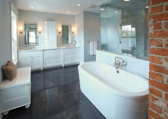 German village master bath farmhouse bathroom for Angela bonfante kitchen designs