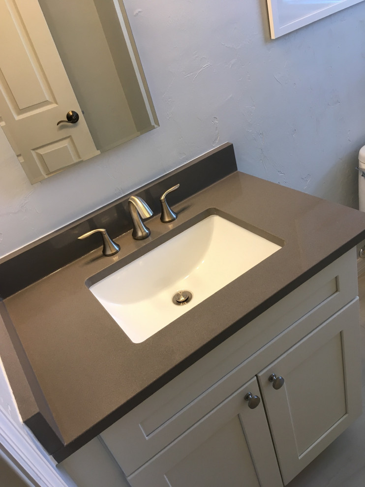 Bathroom - mid-sized modern master beige tile and porcelain tile porcelain floor and gray floor bathroom idea in Jacksonville with shaker cabinets, beige cabinets, white walls, an undermount sink, quartzite countertops and gray countertops
