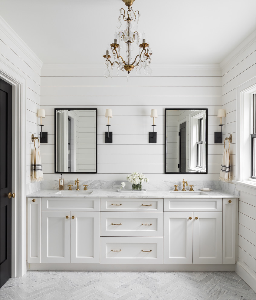 Bathroom - farmhouse master gray floor bathroom idea in Seattle with shaker cabinets, white cabinets, white walls, an undermount sink and gray countertops
