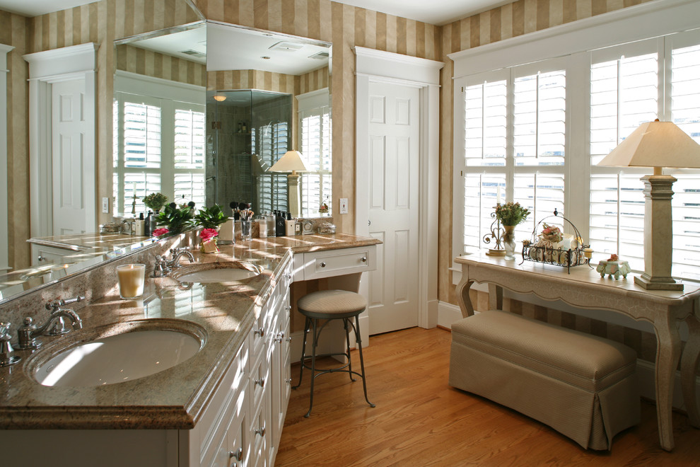 Inspiration for a mid-sized timeless master light wood floor and brown floor bathroom remodel in DC Metro with marble countertops, beaded inset cabinets, white cabinets and an undermount sink