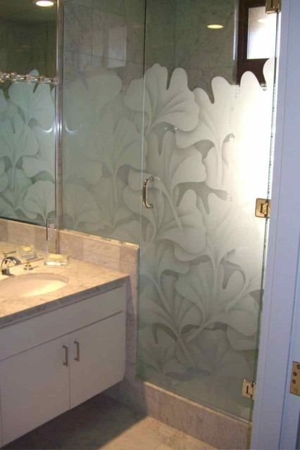 Ginkgo Leaves Glass Shower Enclosure Asian Bathroom