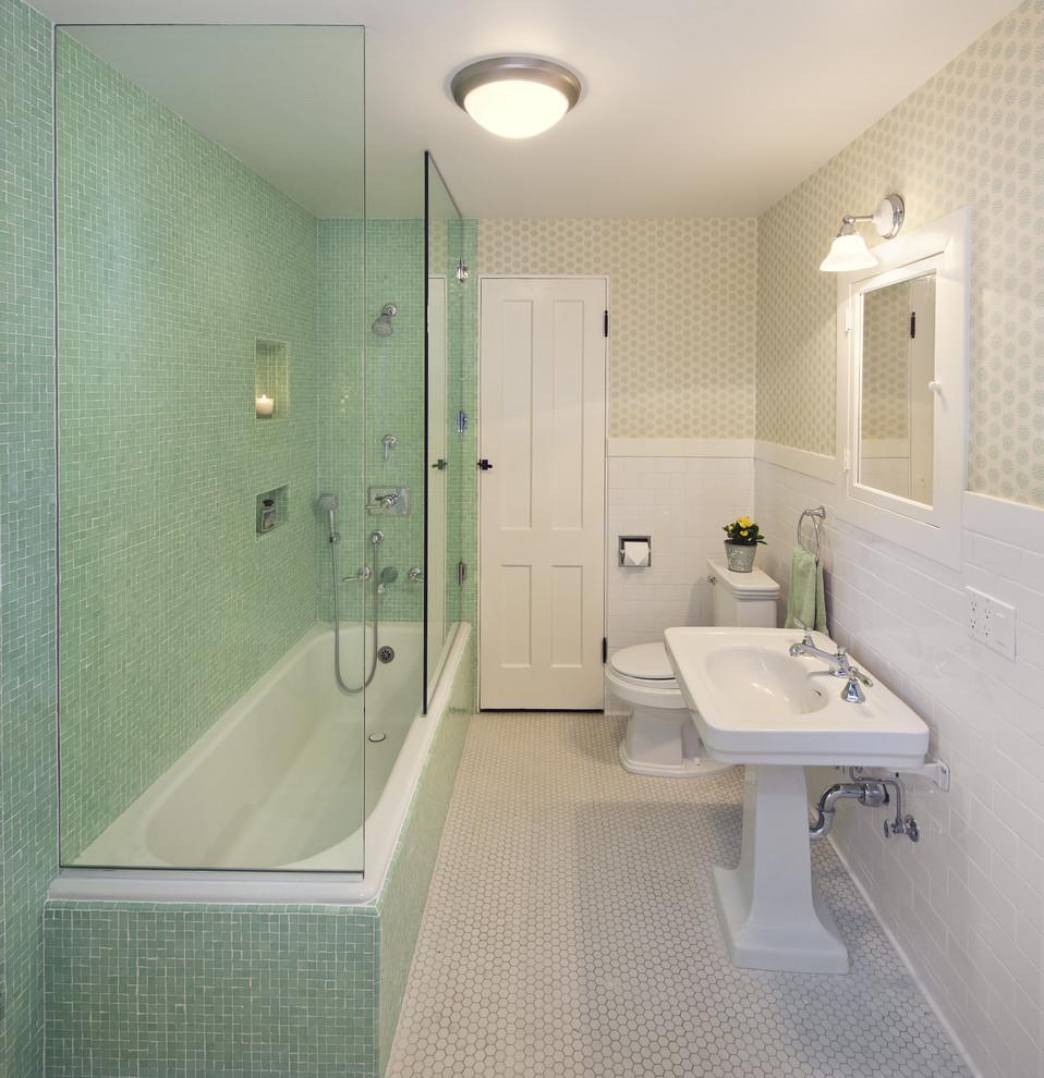 Elegant mosaic tile bathroom photo in Santa Barbara with a pedestal sink