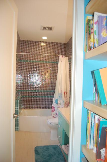 Girls Purple Turquoise Bath Contemporary Bathroom