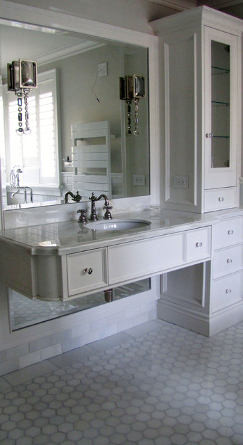 Glacier White Marble Tile Traditional Bathroom