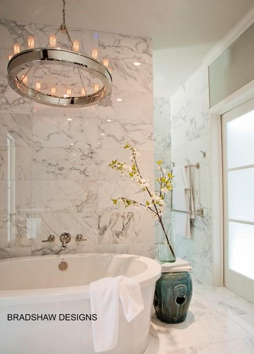Water Pro Water Softener Real v porcelain-effect marble tiles for shower