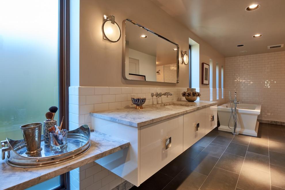 Glam/Mod Mid-Century Master Bathroom Vanity - Midcentury ...