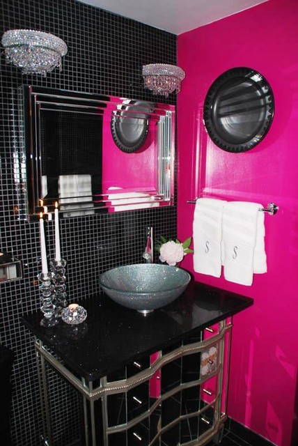 Glamorous guest bathroom for Pink and black bathroom decor