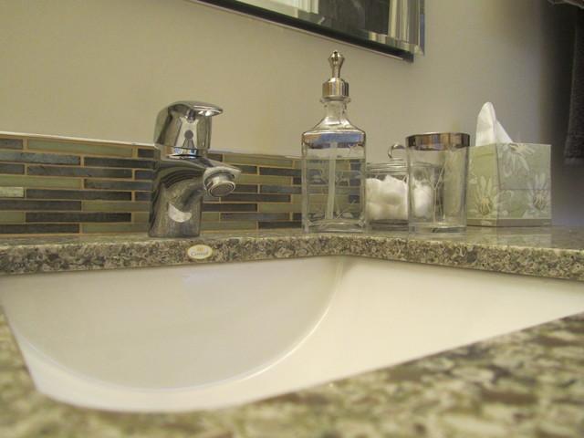 glass backsplash cambria counter traditional bathroom - Backsplash Bathroom