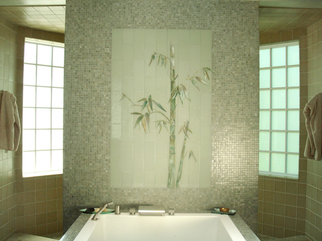 Glass bamboo mural overlooking Japanese soaking tub tropical bathroom. Glass bamboo mural overlooking Japanese soaking tub