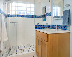 Glass Block in Shower traditional-bathroom