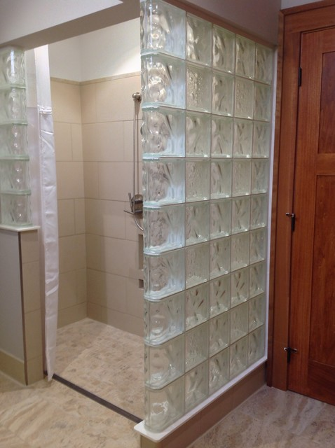 Glass Block Roll In Shower With An Accessible Design Columbus Ohio  Transitional Bathroom