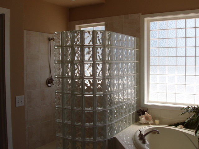 glass block shower modern-bathroom