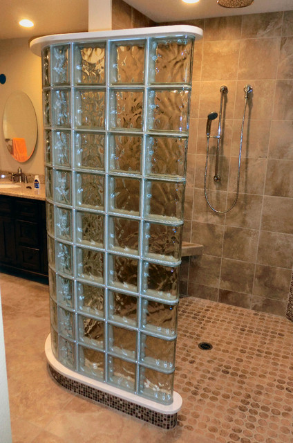 Glass block shower in room addition simi valley california - Glass bricks designs walls ...