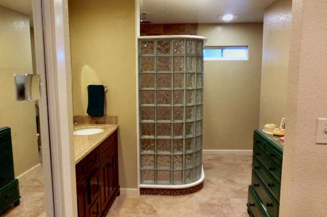 Glass block shower in room addition Simi Valley California traditional-bathroom