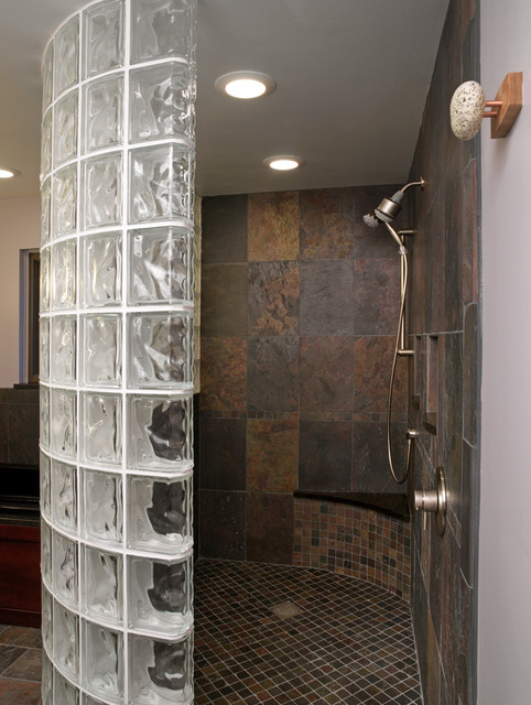 Glass block shower traditional bathroom cleveland - Glass bricks designs walls ...