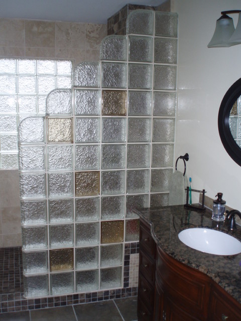Beau Glass Block Shower Contemporary Bathroom