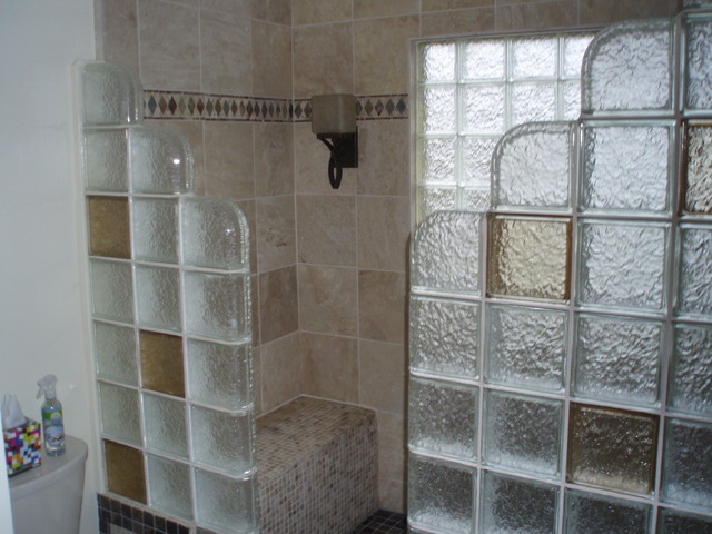 Glass Block Shower Contemporary Bathroom