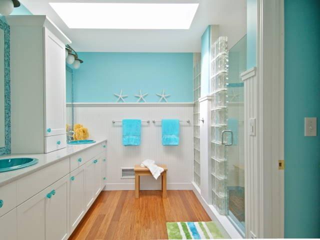 Glass block shower tropical bathroom cleveland by for Bathroom designs using glass blocks