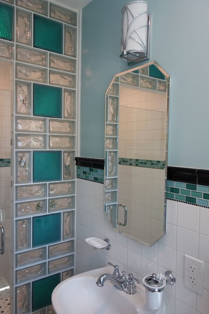 Delightful Glass Block Shower Contemporary Bathroom