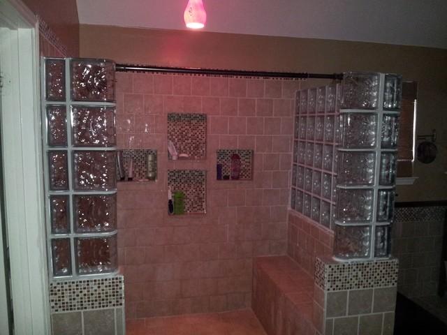 Glass Block Shower craftsman-bathroom