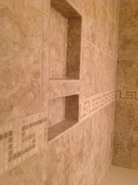 Glass block shower wall dublin ohio traditional