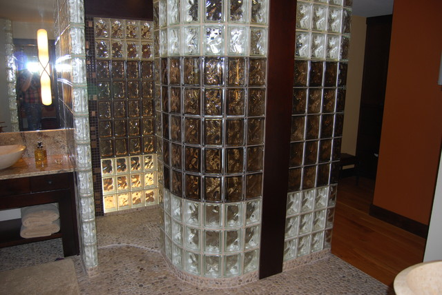 inspiration for a contemporary bathroom remodel in cleveland - Bathroom Designs Using Glass Blocks